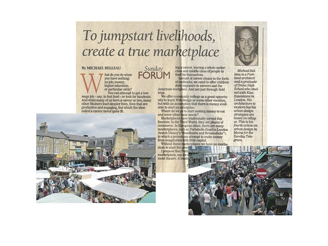 Article on creating an outdoor market in Portland Maine to act as go between home business and storefronts.