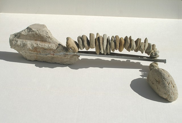 abstract sculpture with stone