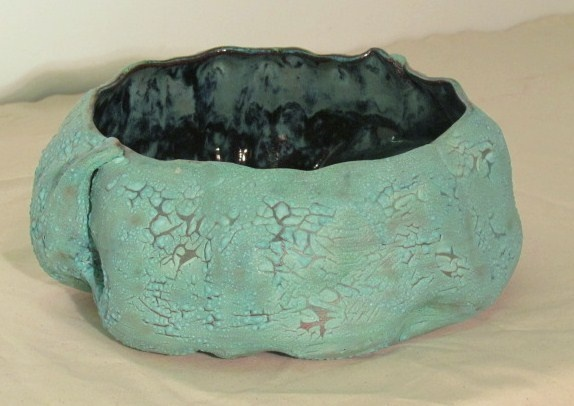Large vessel with textured glaze