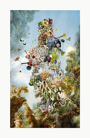 Ben Blatt Limited Edition Print Tropic Tortuguero Bird Flora Fauna Botanical floating horns ferns clouds