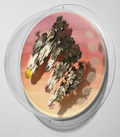 Shawn Bitters, paper sculpture, screenprinting, volcanic bombs, art and science, yupo