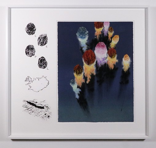 Shawn Bitters, screenprint, pastel, volcanic exclamations, holuhraun, volcanic bombs