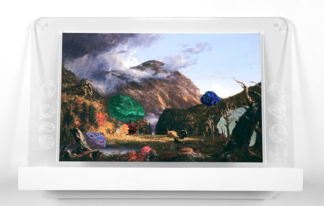 Shawn Bitters, Thomas Moran, Hudson River School, intervention, screenprint,
