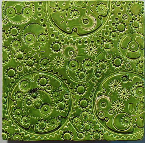 "SOLD Gears - Foilage Green 12""x12"""