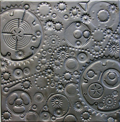 SOLD Gears Pewter 12x12 B