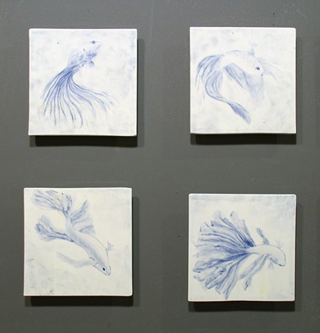 SOLD Siamese Fighting Fish 4tiles 8x8