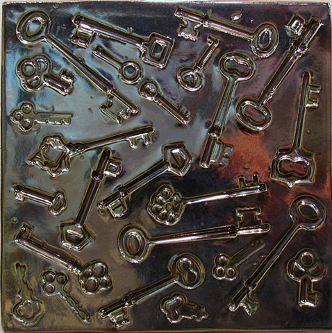 "Skeleton Keys - Silver 8""x8"" tile"
