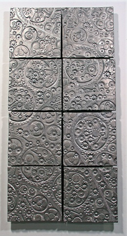 "SOLD Pewter Gears 8- 8""x8"" tiles"