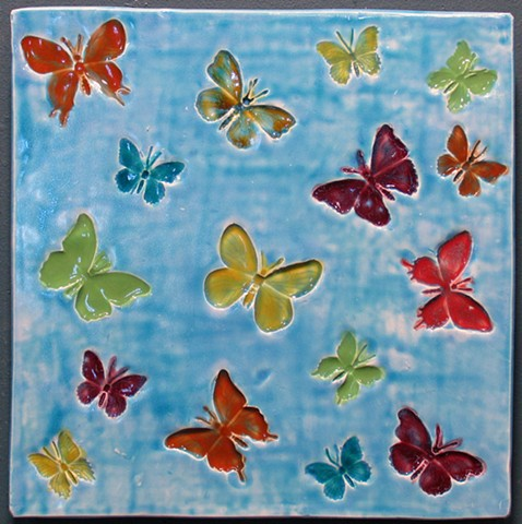 "SOLD Butterfly Rainbow 12""x12"""
