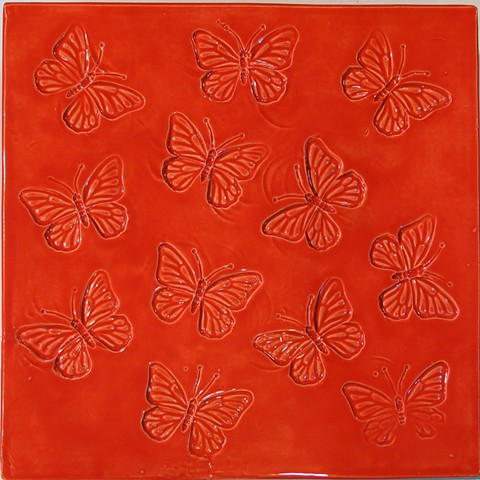 SOLD Butterflies Sunset Red 12x12