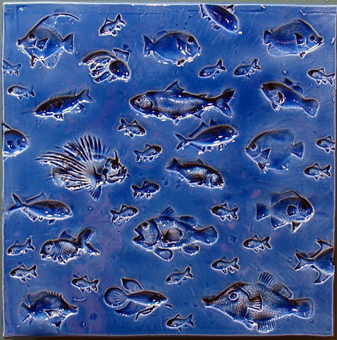 Aegean Blue Fish - 12x12