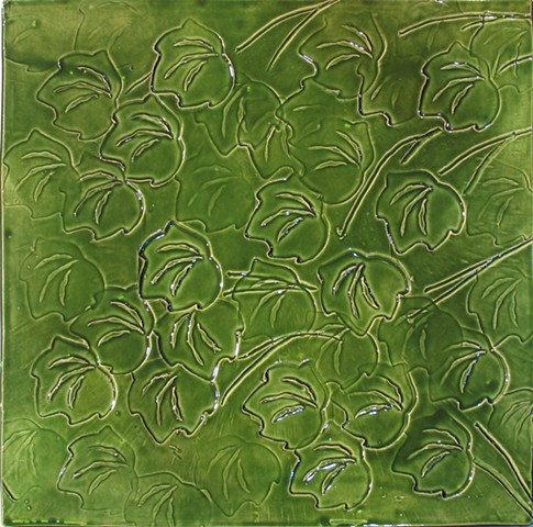 SOLD Leaves 12x12 Foilage Green