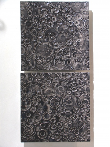 "SOLD Gears - black glaze -12""x24"""
