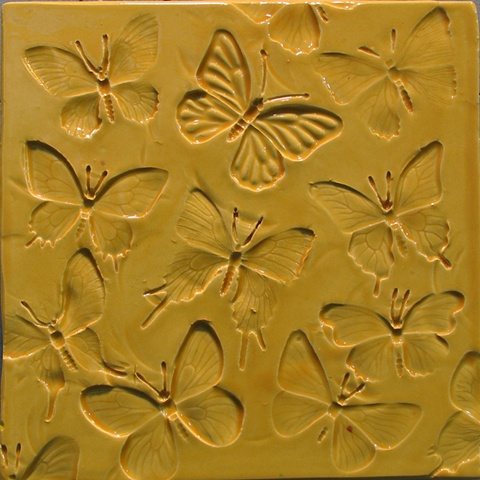 "SOLD Butterflies Yellow 8""x8"""