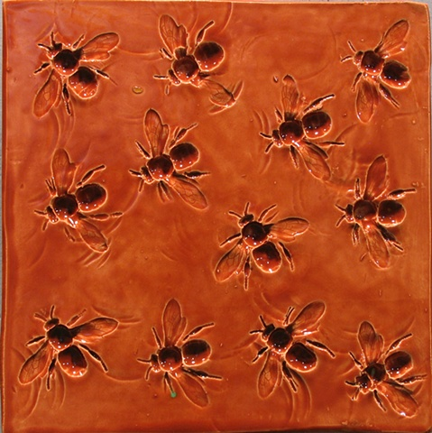 "SOLD Bees Amber 8""x8"""