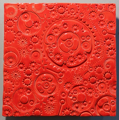 "SOLD Gears - red 12""x12"""