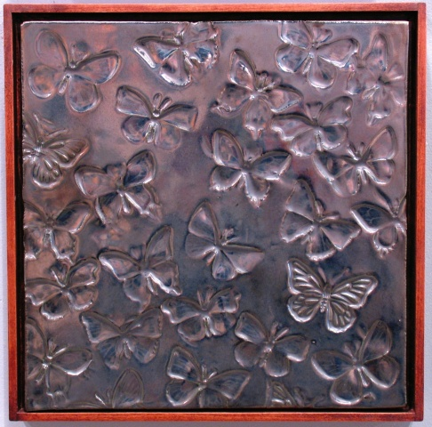 "SOLD Butterflies - silver glaze 12""sq"