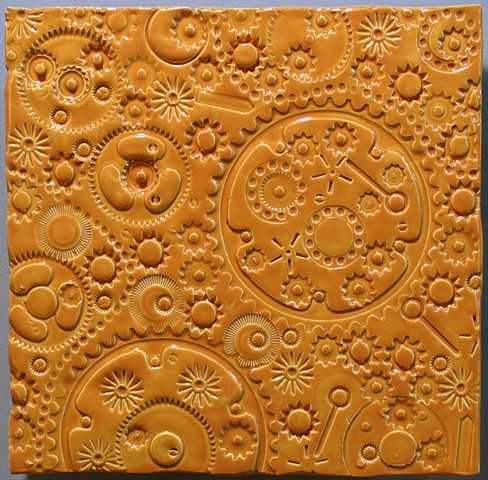 "SOLD Gears - Boroque Gold 12""x12"""