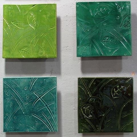 """SOLD - Leaf Tiles -4 8""""x8"""""""