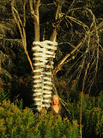 Jolanta Sprawka integrating woven LIGHT to dead trees!
