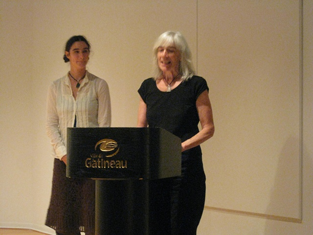Thoma and Gabby Ewen at the press conference at Galerie Montcalm where the International 9ieme Triennale of Minitextiles from Angeres took place.