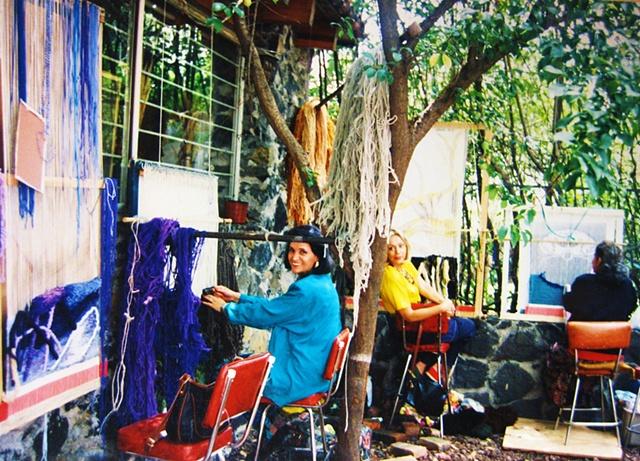 Weaving in my parents patio.