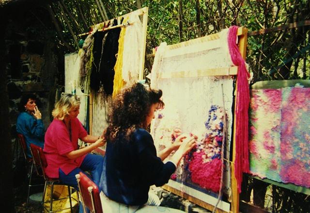 Weaving outside in the Patio