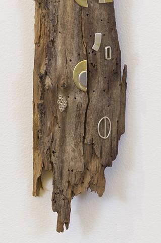 """Irregular Geometries"", 2016, detail  Silver, copper, brass, on found wood  Fulbright Alumnae Exhibition"