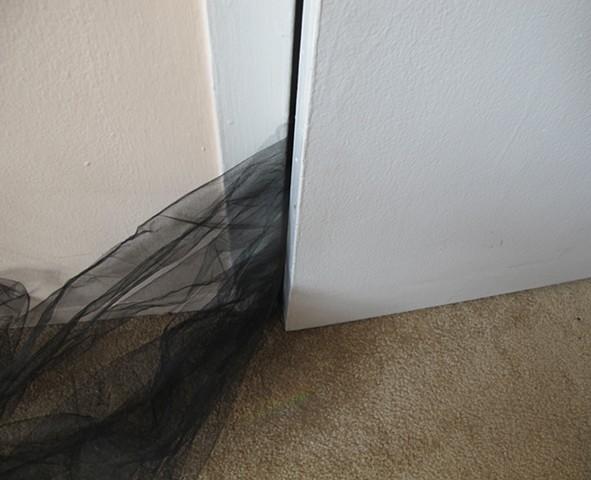 tulle stuck in door