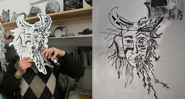 Masks, with Kerry Cox, painted on wall, photographed, screen printed (by Matt Van Asselt), cut out, worn by public