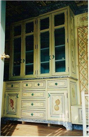 Painted kitchen storage unit.