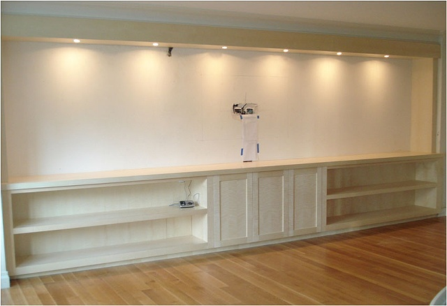English Sycamore Built-in entertainment center.