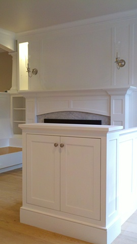 Inglenook and Cabinetry made using FSC certified material for LEED project
