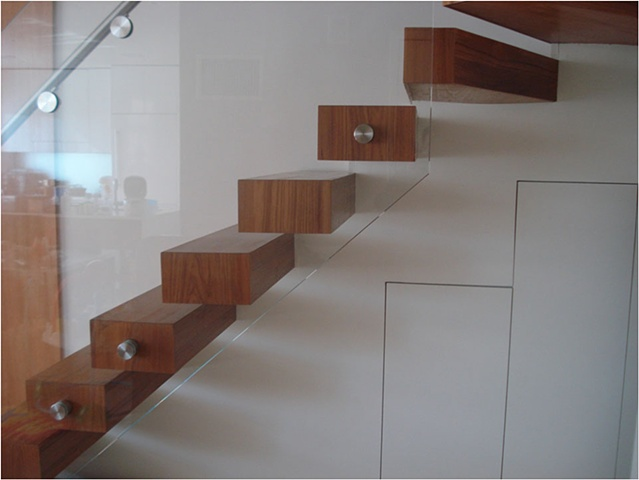 Side View Teak Floating Staircase