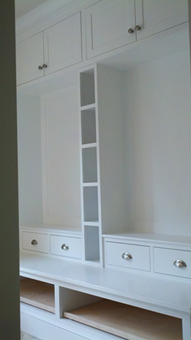 Mudroom Built-in made using FSC certified materials for a LEED project.