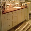 Painted Vanity with Teak and Holly Inlaid Countertop 