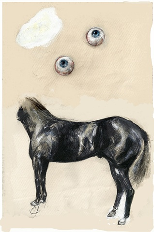 horse with eyeballs, Ludwig Wittgenstein, contemporary drawing