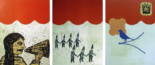 woodcut, linocut, megaphone divining rod, bird, crown, dunce