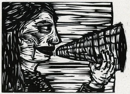 megaphone, linocut