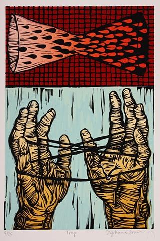 linocut, hands, cats cradle, hourglass