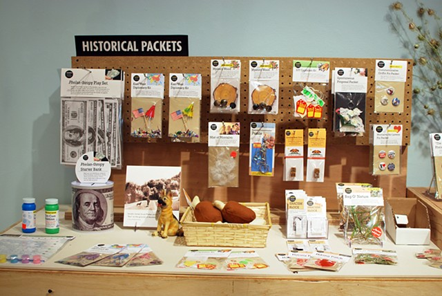 Historical Packets Display 2012 Souvenirs and repurposed furniture