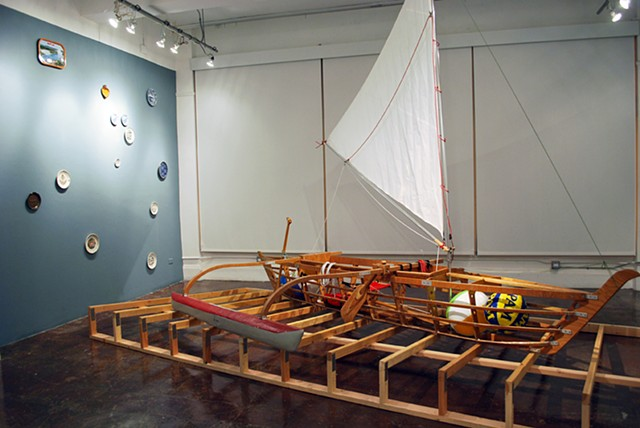 Baby (Medium for Intercultural Navigation)  2011/12 Hand-made collapsible Pacific outrigger canoe and commemorative plates
