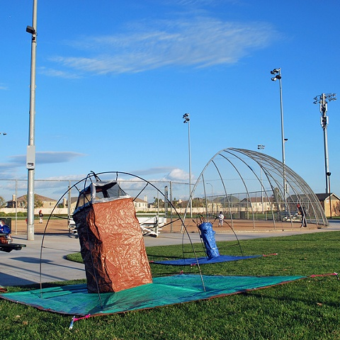 In Tents: Trash & Hydrant (installation at a park)