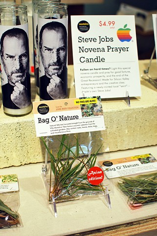 Steve Jobs Novena Candles and Bag O' Nature 2012 Modified candles and an arrangement of botanical materials in packaging