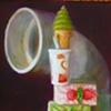 Balance V or Soft Ice on Shake on Piece of Cake