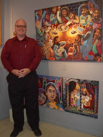James Kuhn with artwork