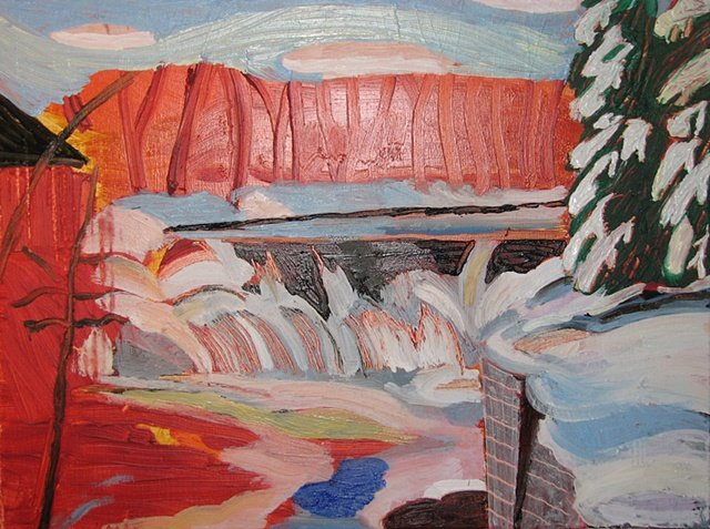 Winter Waterfall 1 Underpainting