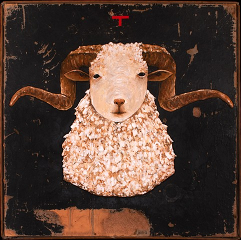 gouache painting of ram on found board by David Ruhlman david ruhlman davidruhlmann www.davidruhlman.com