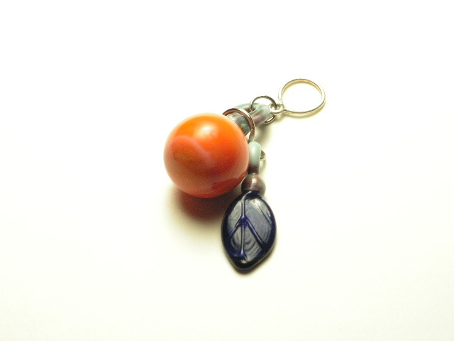 Coral Orange Marble w/ Blue Leaf Pendant
