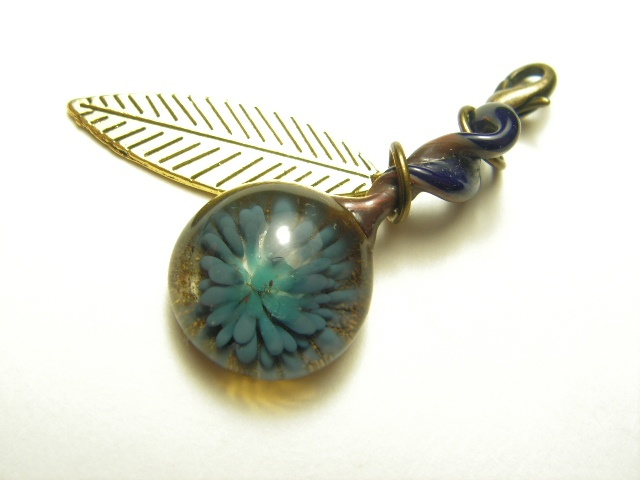 Blue Flower w/ Brass Leaf Charm